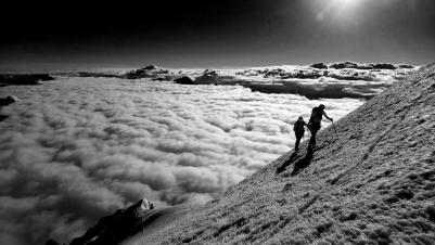 un peu avant le sommet du Mt Cook